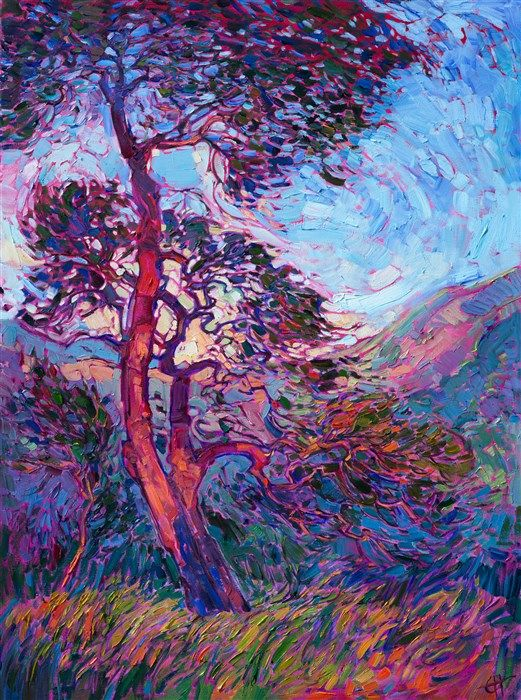 Abstract oak trees painted in an impressionistic style, by