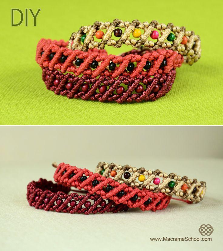 How to Make a Diagonal Striped Macrame Bracelet with Beads: http://youtu.be/g1bekUsDwfk