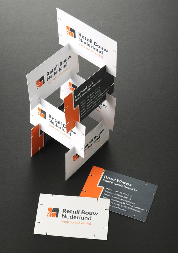 Creatieve visitekaartjes voor Retail Bouw Nederland
