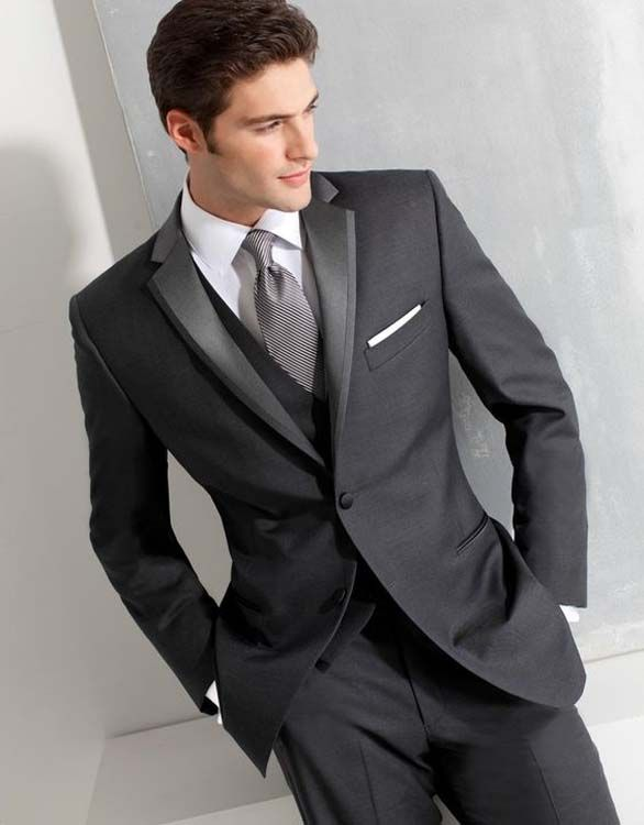 Custom made Size and Color Two Buttons Groom Tuxedos Dark Blue Best man Suit