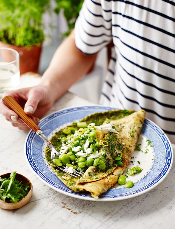 Herb omelette with feta and broad beans - A fines herbes omelette is a French classic. Here, feta and vivid broad beans are added as a filling for a quick, simple supper. Serve with crusty bread and butter