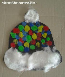 Manualidadesconmishijas. Guantes y gorros para el invierno. Kids craft. Winter. thumbprint. cotton. Hat