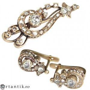 set bijuterii victoriene - brosa & cercei - aur si diamante 1.7 ctw  .  cca 1850 Marea Britanie