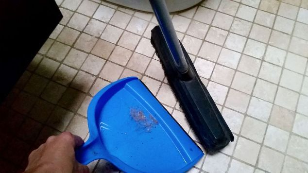 neat swifter hack 4 ingredient diy bathroom tile grout cleaner, bathroom ideas, cleaning tips, tiling, Let s Sweep Vacuum First
