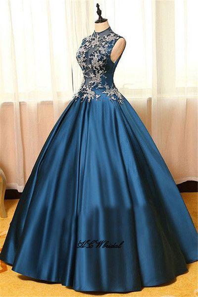 7ce61f744 Vestidos de fiesta de princesa azul marino con encaje sin mangas de ...
