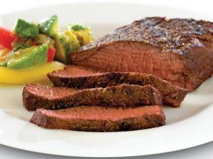 Cumin Pepper-Rubbed Denver Cut Steak with Avocado Salsa Verde