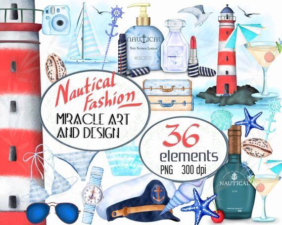 Nautische Mode Clipart, Aquarell Sommer Reise Abenteuer Clipart, Leuchtturm …   – Products