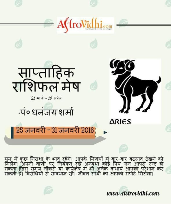 Check your Aries weekly Horoscope (from 25 Jan to 31 Jan 2016) in Hindi and plan your full week in advance.