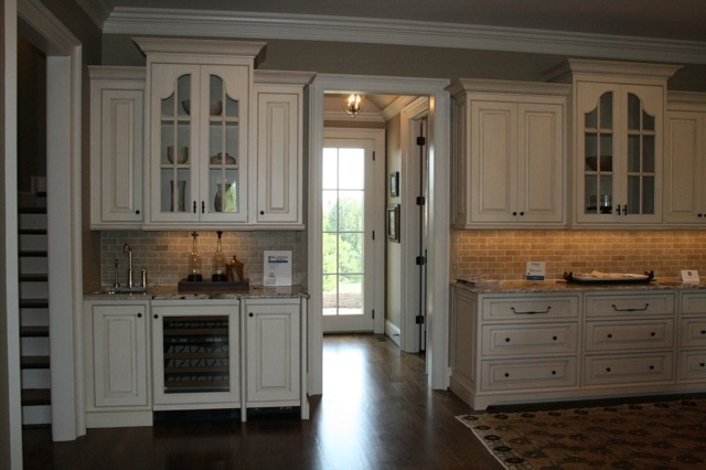 Brick Backsplash White Cabinets Dark Floor Home Ideas