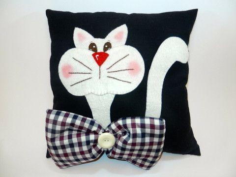 Kedili Yastık - Papyonlu Kedi