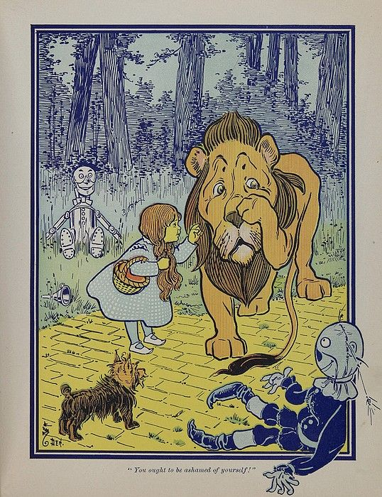 """Wonderful Wizard of Oz"" main characters, created by Frank Lyman Baum in 1900. Dorothy speaks to the Cowardly Lion."