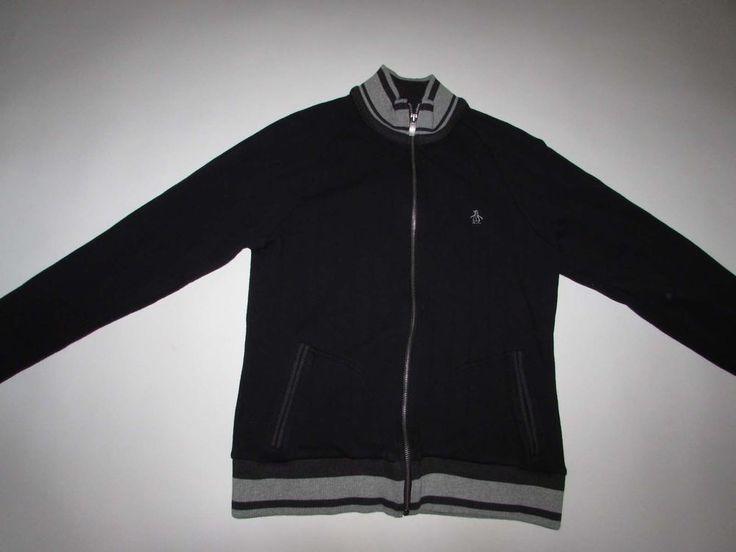 Original Penguin Men's Track Jacket Medium Long Sleeves Black Gray Sweatshirt M in Clothing, Shoes & Accessories, Men's Clothing, Sweats & Hoodies | eBay