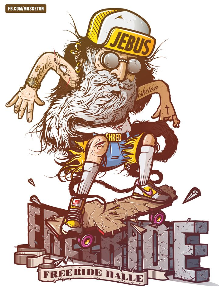 """It takes a classic historical figure, punkify him, and then have """"Jebus"""" rail grid with a cross skateboard like a pro. It speaks to the rebel in us all. Jebus lives to free ride and quite frankly don't we all? Great Vector Illustrations 