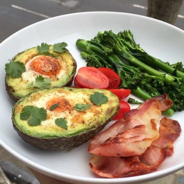 Bacon, eggs and avocado  That's #Leanin15