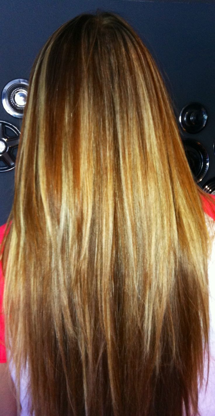 Long red layered hair with blonde highlights | Hair ...