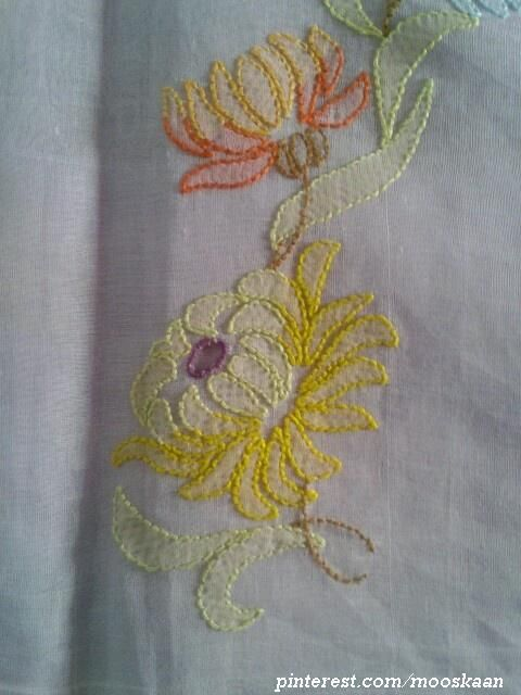Shadow-work / Lucknow Chikan embroidery on organdy sari (for my MIL) using Anchor Embroidery thread...... (Series 1-Q)