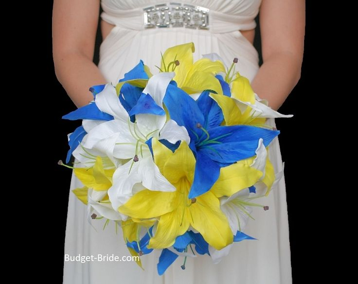 Horizon Blue, Bright Yellow and Whit Lily Wedding Flowers