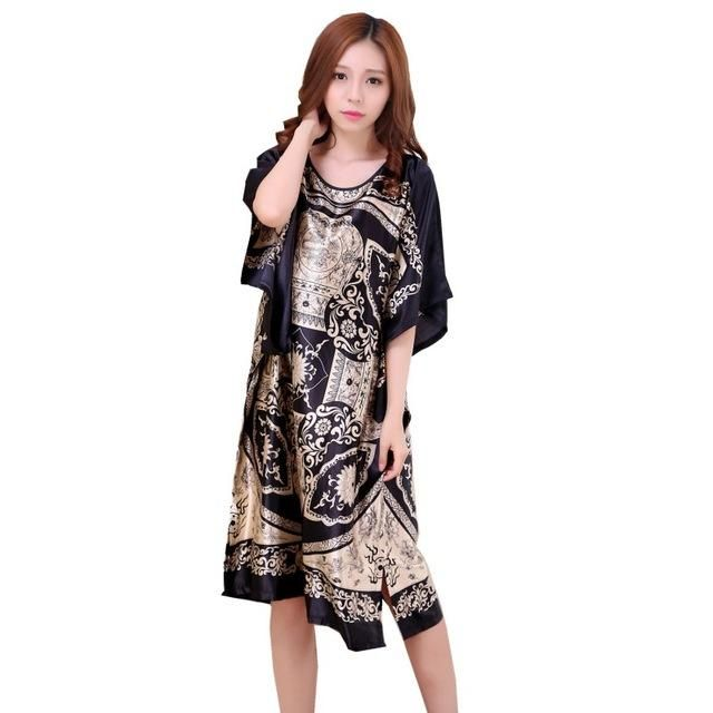 a914e37da0 Plus Size Black Women s Summer Lounge Robe Lady Sexy Home Dress Rayon  Nightgown Large Loose Bating