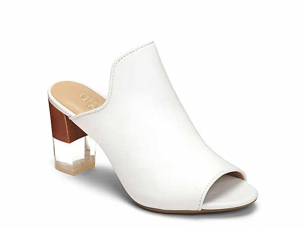 leather shoes, White mules heels