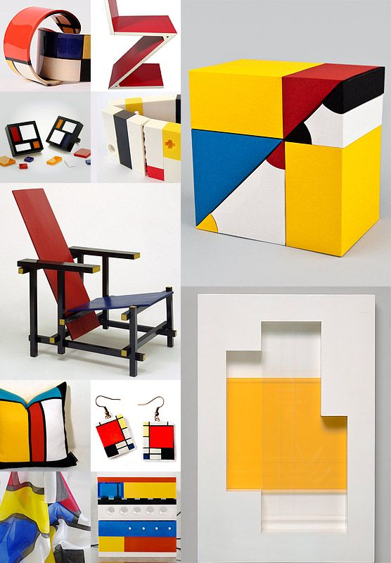 How many ways can you arrange geometric blocks of primary colors? We looked at design inspired by Euclid's propositions, the strict order of de Stijl, and objects that make Mondrian more useful.