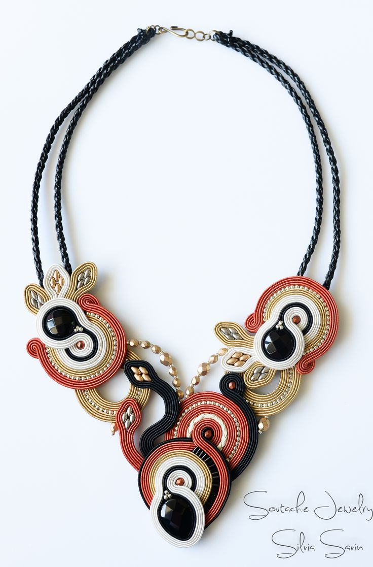 Black / Dark Orange / Beige / Gold / Ivory Handmade Soutache necklace