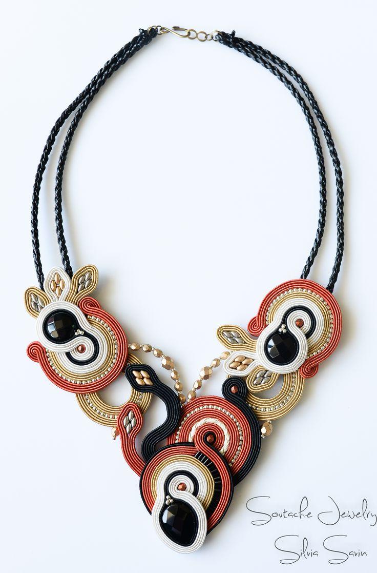 Black / Dark Orange / Beige / Gold / Ivory Handmade Soutache necklace