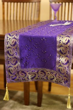 Hand Embroidered By Long Table Runner (Plum Purple)