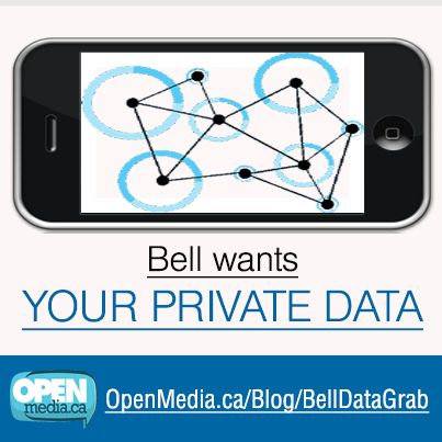 "Bell thinks it can fool Canadians with its new ""privacy"" policy - but Canadians are taking a strong stand against the company's latest affront to citizens: https://openmedia.ca/blog/BellDataGrab  Thank you to all our community members who have been speaking out on Facebook, Twitter and Google+! Please share this article with your friends - and tell Industry Minister James Moore that the time has come to rein Big Telecom in: https://OpenMedia.ca/Gatekeepers"