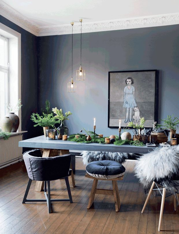 Gravity Home, Christmas decorations in grey Oslo home via Femina