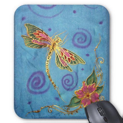 Silk Painted Dragonfly Mousepad by StarlitSkies
