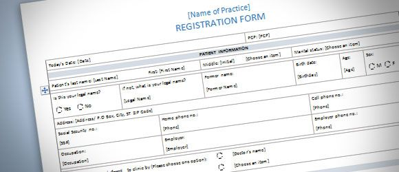 Patient Registration Form Template for Word 2013 – Word Form Template