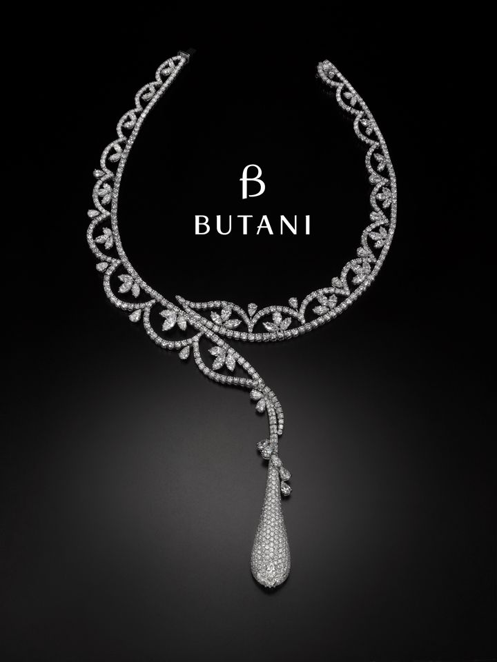Jewellery is an important adornment for a bride and brings back sweet memories of the blessed day. Featured here is a romantic asymmetrical necklace with petal lace neck work design #Butani #ButaniJewellery #love