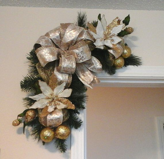 Christmas Swag, Corner Door Wreath, Elegant Gold White Mesh Garland Wreath, Door, Picture, Mirror Swag, Floral Arrangement, Holiday Décor