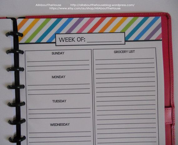 Weekly Meal Planner Printable Rainbow Stripe Menu Planner ...