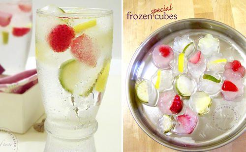 Cubitos de hielo con fruta dentro