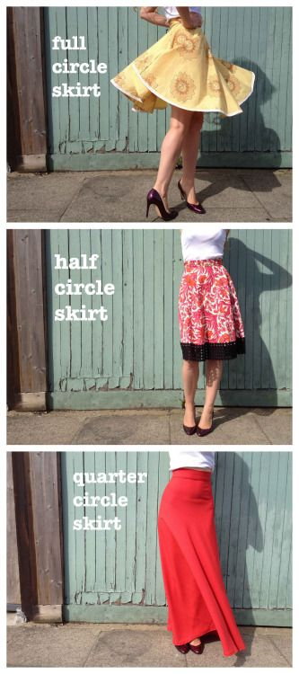 DIY Full Circle Foolproof Skirt Tutorial from By Hand London.This afternoon I got a message asking about tutorials for circle skirts that actually worked and remembered this one that I hadn't posted. There are calculations for full, half and quarter circle skirts.