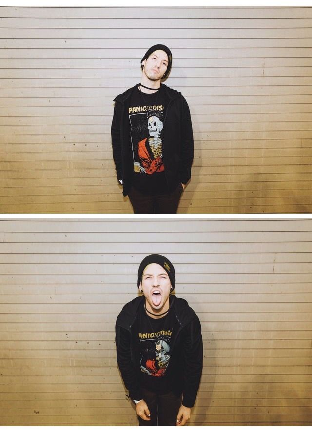 Josh wearing a Panic! shirt. My life is complete.