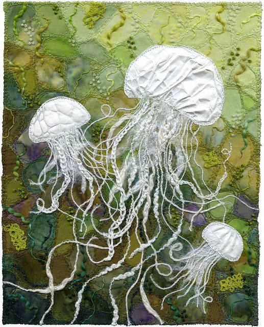 Jellyfish, made with Tyvek and threads by Kirsten Chursinoff