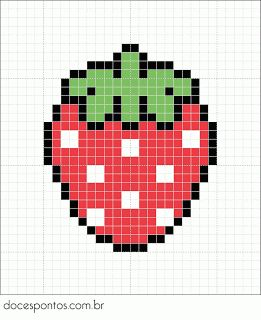 Strawberry perler bead pattern