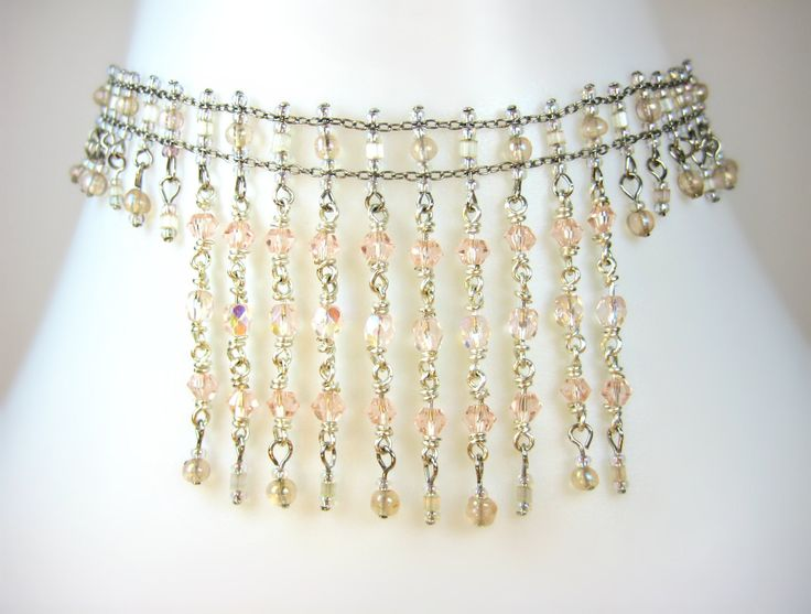 Sparkling Pale Pastel Peach Silver Chain Swarovski Cascade Beaded Collar Choker Necklace