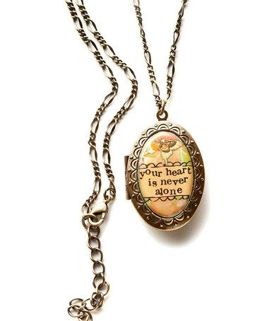 Another great find on #zulily! Gold 'Never Alone' Locket #zulilyfinds
