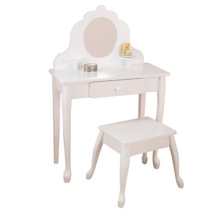 With a table, chair and mirror perfectly sized for kids, this vanity set provides the ideal place for every little lady to get ready for her days.