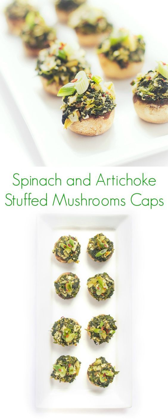 Spinach and Artichoke Stuffed Mushroom Caps - An easy, healthy appetizers for large parties! - The Lemon Bowl
