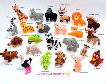 Animales del bosque MADERA Animales feltro imanes de nevera by LADYBUGonCHAMOMILE | Etsy
