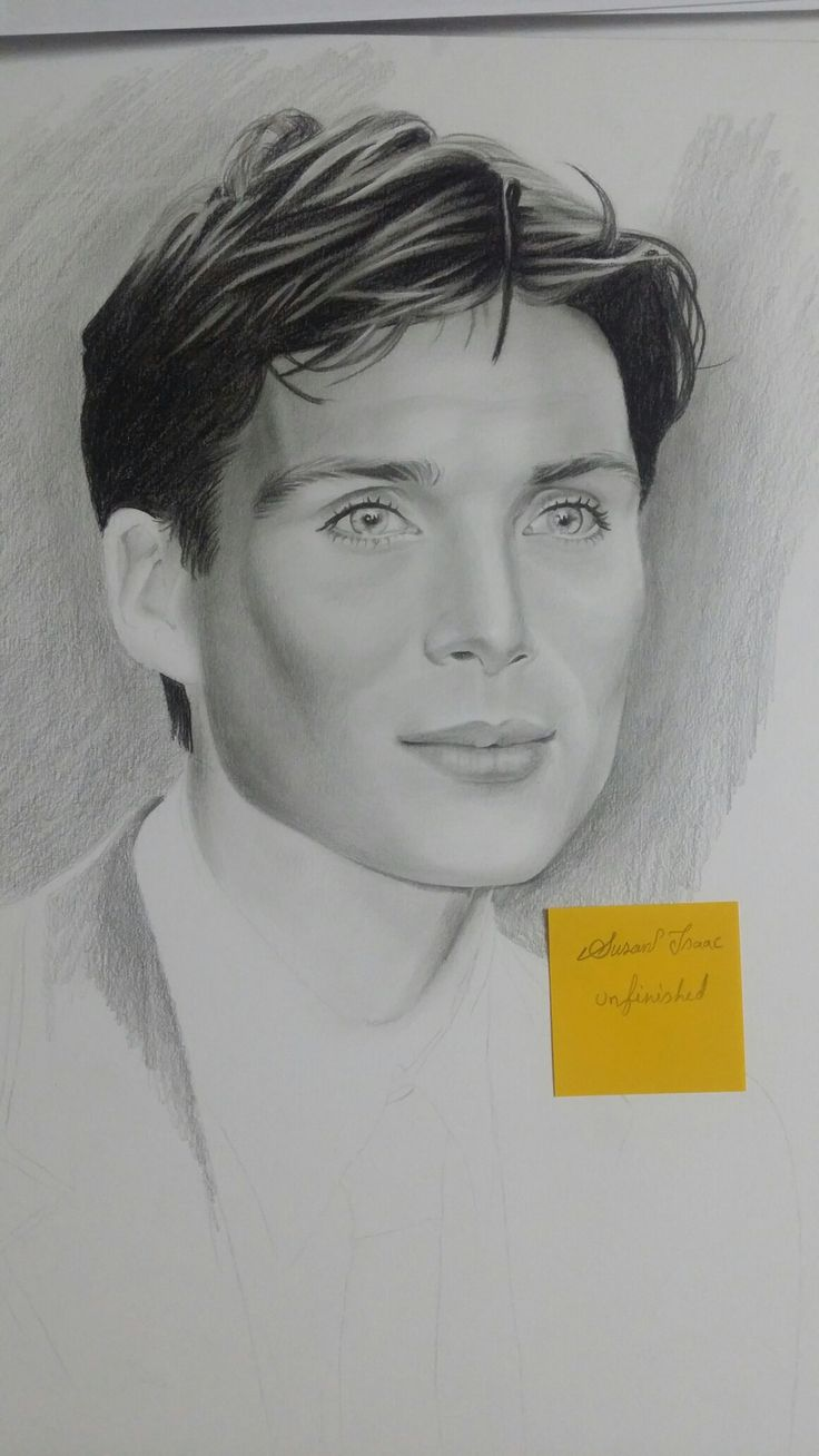 Cillian Murphy graphite on paper drawing with pencils by Susan Isaac