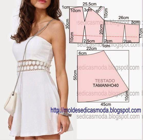 Short strapless dress, pattern instructions