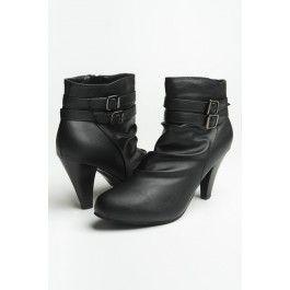 Leather Heel Buckle Booties