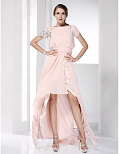 TS+Couture+Prom+Formal+Evening+Dress+-+High+Low+Celebrity+Style+Sheath+/+Column+Bateau+Floor-length+Asymmetrical+Chiffon+withSide+Draping+–+AUD+$+572.00