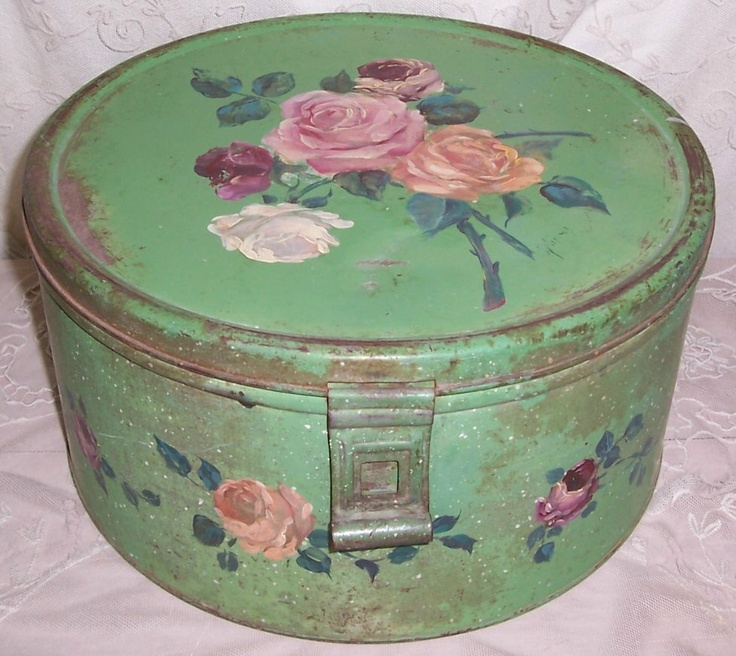 Green ANTIQUE Metal Hand Painted Pink ROSES Tole Cake Tin Saver/Box : old cake plates - pezcame.com