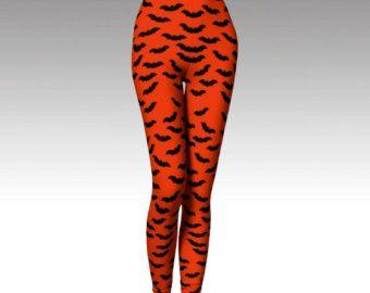 Check out Bat Leggings, Halloween Leggings, Orange Leggings, Bat Tights, Halloween Tights, Orange Tights, Activewear, Printed Leggings,  Black, Spooky on laineydesigns